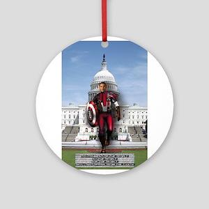 Obama Super Hero Ornament (Round)