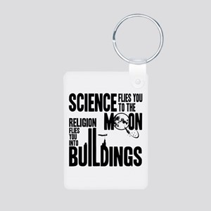 Science Vs. Religion Aluminum Photo Keychain