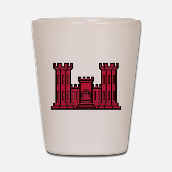 Engineer Branch Insignia - Red Shot Glass