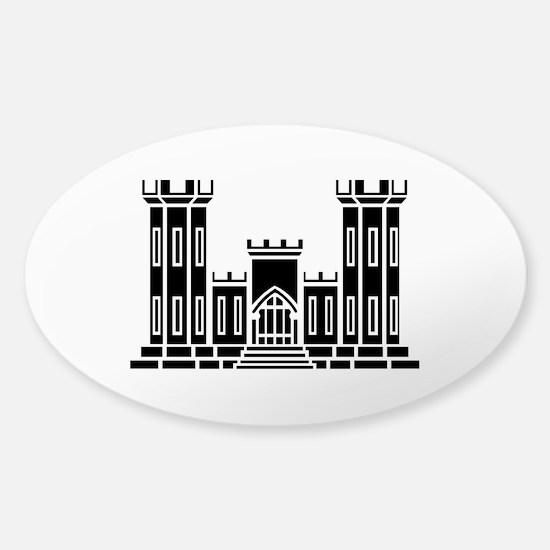 Engineer Branch Insignia - B-W Sticker (Oval)