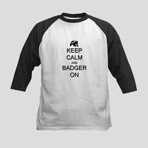 Keep Calm and Badger On Kids Baseball Jersey