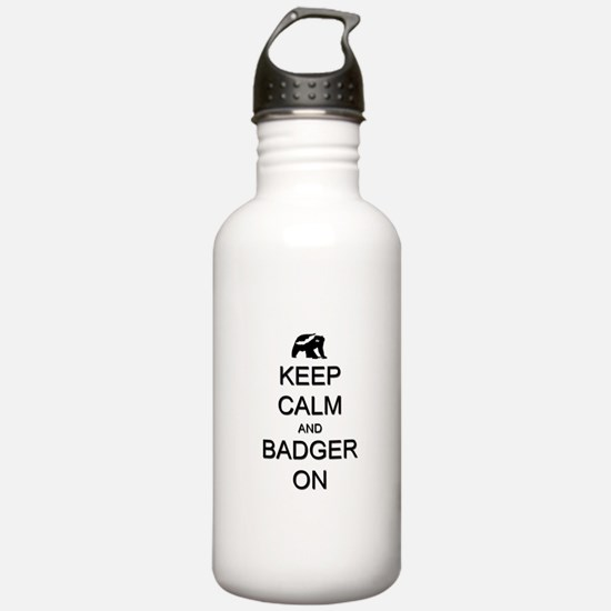 Keep Calm and Badger On Water Bottle