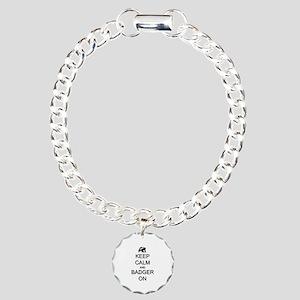Keep Calm and Badger On Charm Bracelet, One Charm