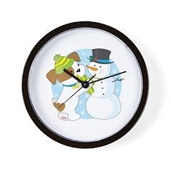 Cute Puppy and Snowman Wall Clock