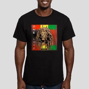 ONE LOVE LION Men's Fitted T-Shirt (dark)