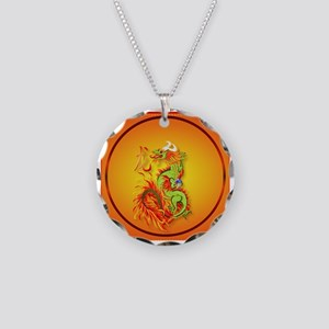 Year Of The Dragon Necklace Circle Charm