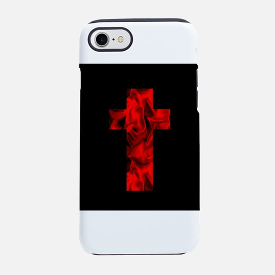 Fire Red Black Catholic Cross iPhone 7 Tough Case