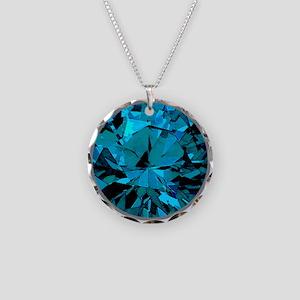 Blue Zircon - December Necklace Circle Charm