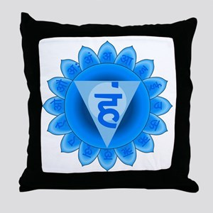 Blue Vishuddhi Throat Chakra Throw Pillow