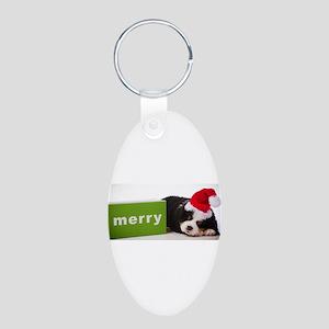 Merry Aluminum Oval Keychain