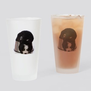 Passed out Puppy Drinking Glass