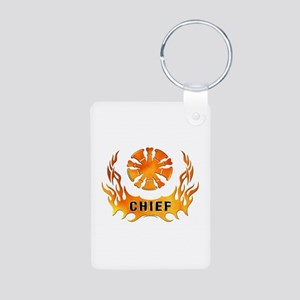 Fire Chiefs Flame Tattoo Aluminum Photo Keychain