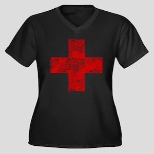 Vintage, Red Cross Women's Plus Size V-Neck Dark T