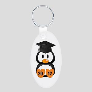 Custom Gradution Penguin Aluminum Oval Keychain