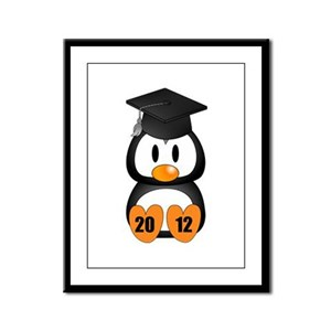 Custom Gradution Penguin Framed Panel Print