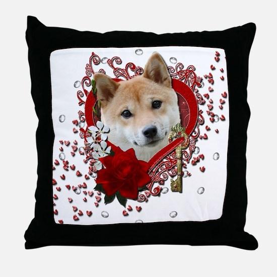 Valentines - Key to My Heart Shiba Inu Throw Pillo