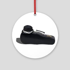 Black Fedora Music Case Ornament (Round)