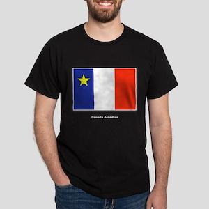 Canada Arcadian Flag (Front) Black T-Shirt
