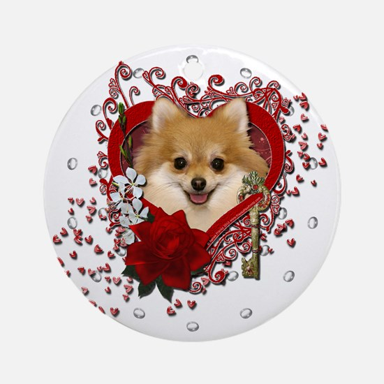 Valentines - Key to My Heart Pomeranian Ornament (