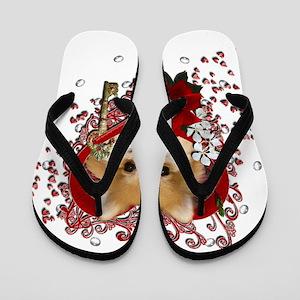 Valentines - Key to My Heart Pomeranian Flip Flops