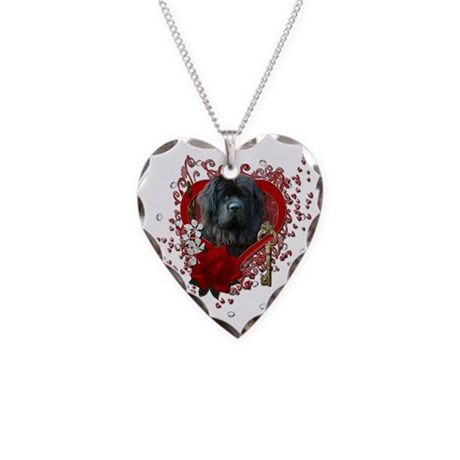Valentines - Key to My Heart Newfie Necklace Heart