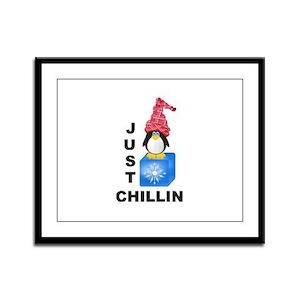 Just Chillin Penguin Framed Panel Print