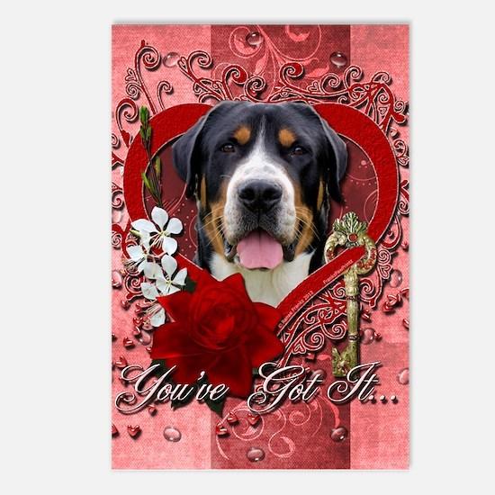 Valentines - Key to My Heart Swissie Postcards (Pa