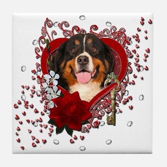 Valentines - Key to My Heart Bernie Tile Coaster