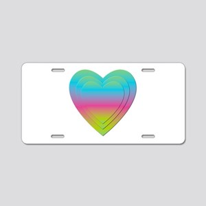 PASTEL STACKED HEARTS Aluminum License Plate