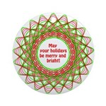 Merry and Bright Christmas Ornament (Round)