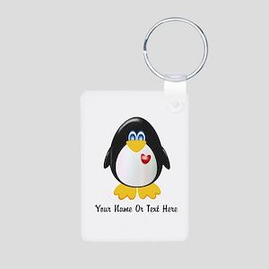 Customizable Penguin Aluminum Photo Keychain