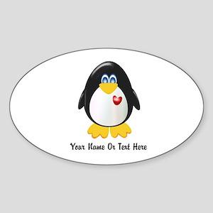 Customizable Penguin Sticker (Oval)