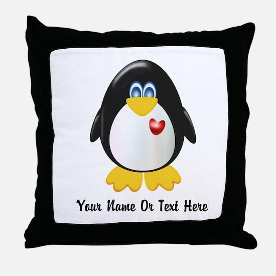 Customizable Penguin Throw Pillow