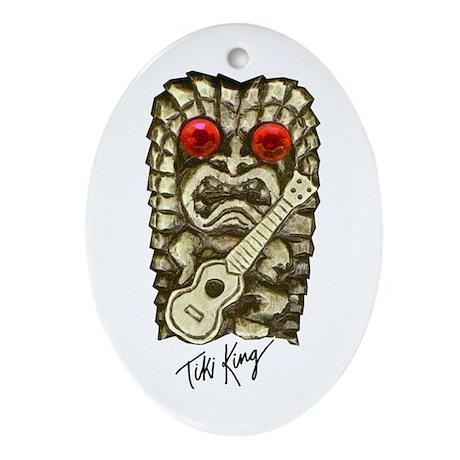 Ukulele Playing Tiki Ornament (Oval)