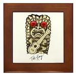 Ukulele Playing Tiki Framed Tile