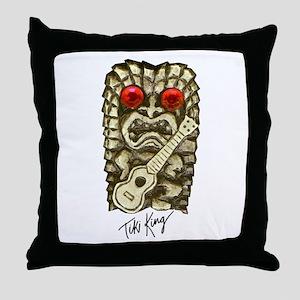 Ukulele Playing Tiki Throw Pillow
