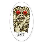 Ukulele Playing Tiki Sticker (Oval)