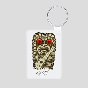 Ukulele Playing Tiki Aluminum Photo Keychain