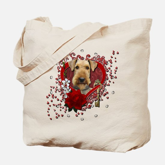 Valentines - Key to My Heart Airedale Tote Bag