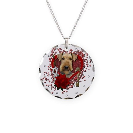 Valentines - Key to My Heart Airedale Necklace Cir