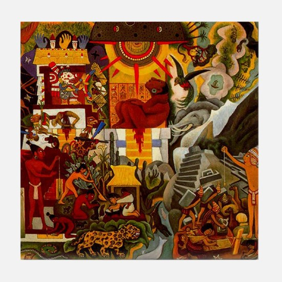 Diego Rivera Mural Detail America Art Tile Coaster
