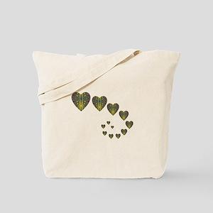 PEACOCK KALEIDOSCOPE HEART TRAILS Tote Bag