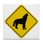 Wolf Crossing Sign Tile Coaster