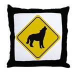 Wolf Crossing Sign Throw Pillow