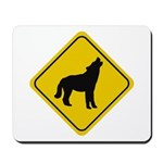 Wolf Crossing Sign Mousepad