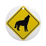Wolf Crossing Sign Ornament (Round)