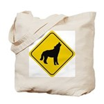 Wolf Crossing Sign Tote Bag