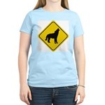 Wolf Crossing Sign Women's Pink T-Shirt