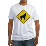 Wolf Crossing Sign Fitted T-Shirt