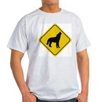Wolf Crossing Sign Ash Grey T-Shirt